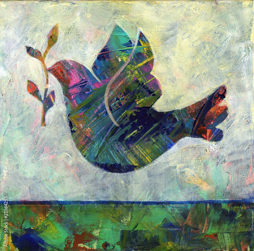 Fotografia Abstract Dove - Abstract acrylic painting of a dove with olive branch