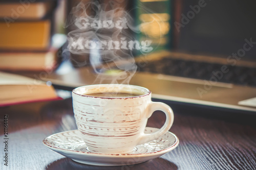 Tablou Canvas A cup of coffee and a smoke good morning at the office at work