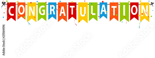 congratulation banner background vector party flags with confetti