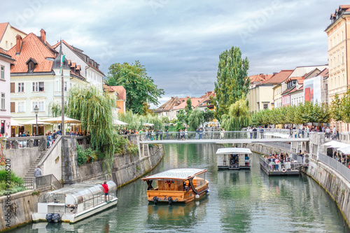 view of the central street in Ljubljana Slovenia