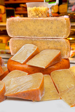 Dutch Cheese Sale Market Netherlands Europe Hollands Pieces Greens Table Sale Spice Herb Dressing Real
