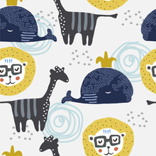 Cute Seamless Pattern With Gir...