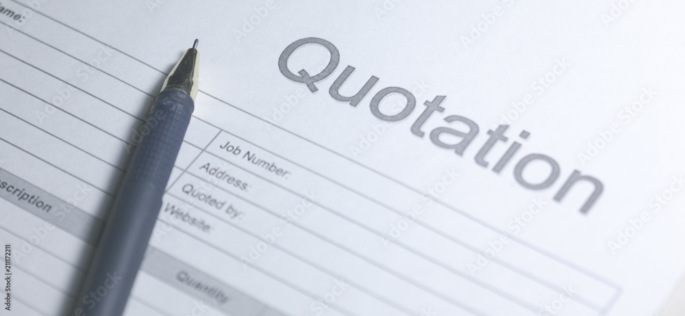 Fototapety, obrazy: Business document - Quotation. Paper for sign. Quotation on white background.