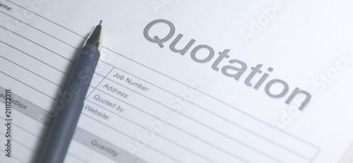 Obraz Business document - Quotation. Paper for sign. Quotation on white background. - fototapety do salonu