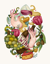 Food Illustration With A Bottle Of Wine, Grape, Cheese And Roses