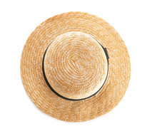 Stylish Summer Hat On White Ba...