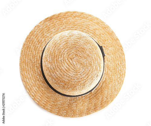 Stylish summer hat on white background, top view