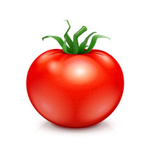 Fresh Red Ripe Tomato With Green Leaf. Vegetarian Vegetable
