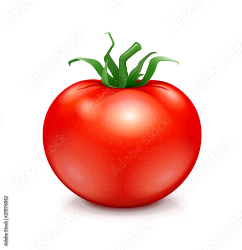 Fototapeta Fresh red ripe tomato with green leaf. Vegetarian vegetable
