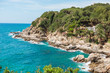 Blue Sea Coast Line Sand Stones Beach Mediterranean Nature Background Spain