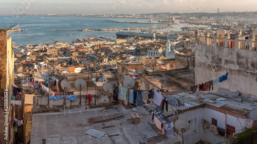 Panorama of Aligiers from old town casbah Canvas Print