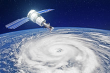 Research, Probing, Monitoring Of Tracking In A Tropical Storm Zone, A Hurricane. Satellite Above The Earth Makes Measurements Of The Weather Parameters. Elements Of This Image Furnished By NASA.