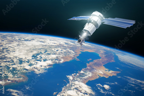 Deurstickers Nasa Research, probing, monitoring of in atmosphere. Communications satellite in orbit above the surface of the planet Earth. Elements of this image furnished by NASA.