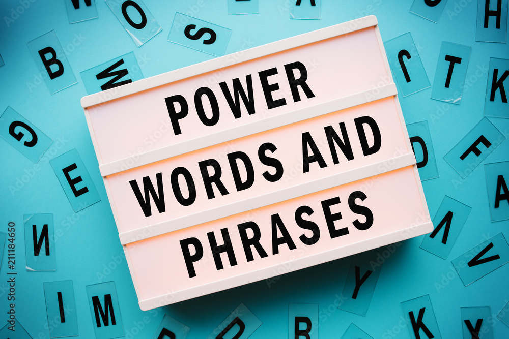 Power words and phrases concept