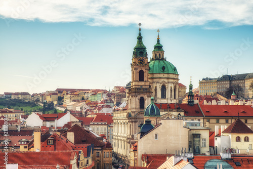 Acrylic Prints Prague View of St Nicholas Church at Mala Strana (Kostel sv. Mikulase) Cathedral in old town and the main street to the Prague Castle from the top of the Lesser Tower