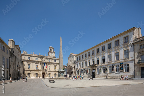 Photo Arles Old Town with the Town Hall, Clock Tower, the roman Obelisk and medieval c