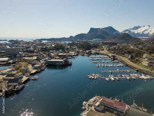 Spoed Foto op Canvas Scandinavië Aerial view over the city of Svolvaer at Lofoten Islands / Norway