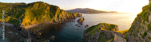 Sunset in San Juan de Gaztelugatxe, Basque Country Fototapet