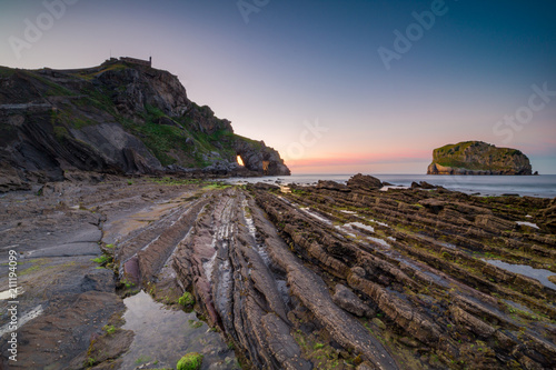 Foto  Sunset in San Juan de Gaztelugatxe, Basque Country