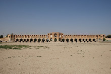 Khaju Bridge In Iranian City Of Isfahan Isfahan, Standing Above The Dry Riverbed