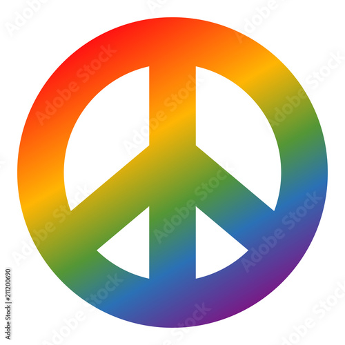 Foto  Rainbow colored peace symbol on separated white background