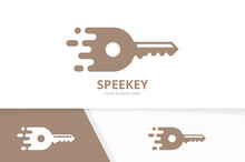 Vector Fast Key Logo Combination. Speed Symbol Or Icon. Unique House And Quick Logotype Design Template.