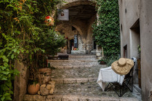 Cobbled Laneways And Shops In Sainte Agnes, Provence, France