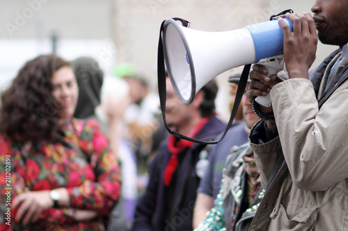 Protestor with a bullhorn. Canvas Print