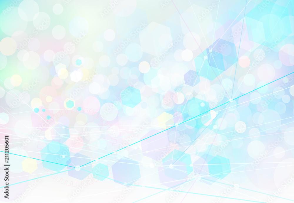 Fototapeta ネットワークテクノロジー抽象背景素材-ファンタジーカラー
