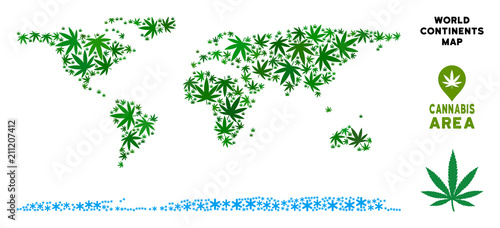 Photo  Ganja world continent map collage of marijuana leaves