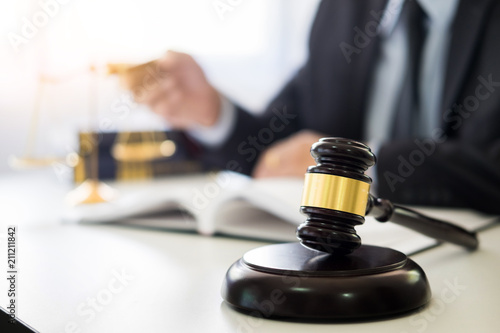 Fotografie, Tablou  gavel and soundblock of justice law and lawyer working on wooden desk background