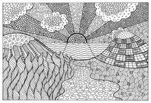 Doodle Surreal Landscape - Coloring Page For Adults. Fantastic Graphic Artwork. Vector Illustration