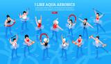 Aqua Aerobics Isometric Horizontal Illustration