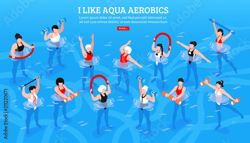 Aqua Aerobics Isometric Horizontal Illustration Wallpaper Mural
