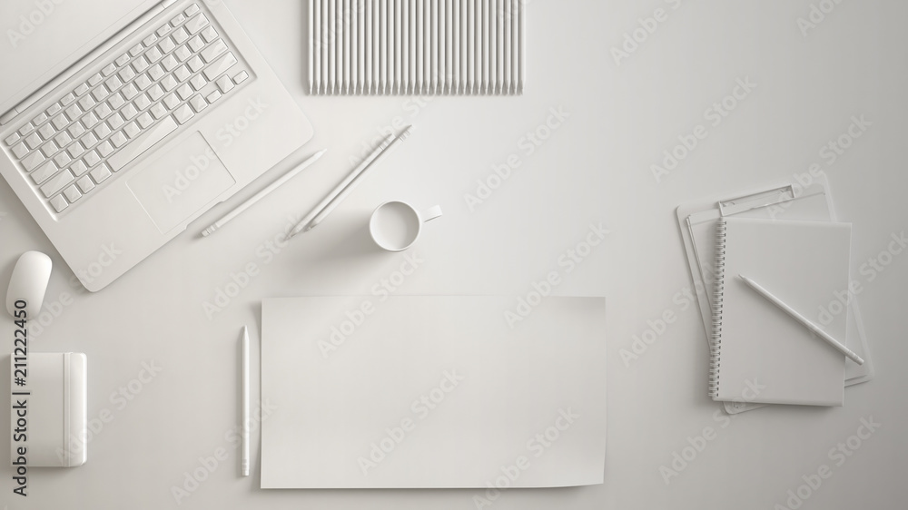 Fototapeta White monochrome minimal office table desk. Workspace with laptop, notebook, pencils and coffee cup. Flat lay, top view, blank paper mockup template