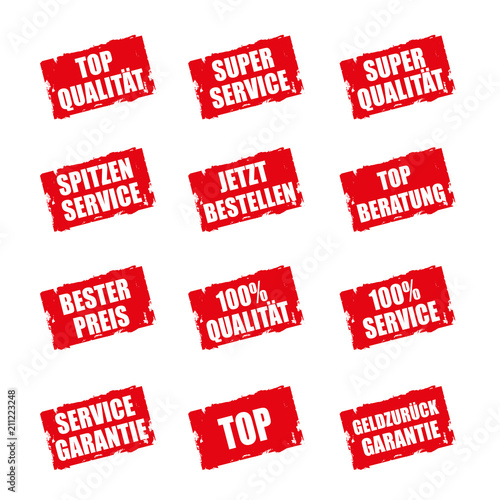 Störer Buttons mit Qualitätsauslobung zur Verkaufsförderung. Canvas Print