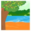 lake river green forest jungle panorama scenery landscape background
