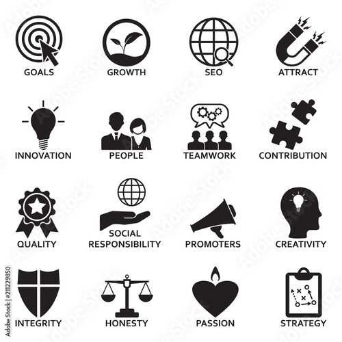 Fotografie, Obraz  Company Core Values Icons