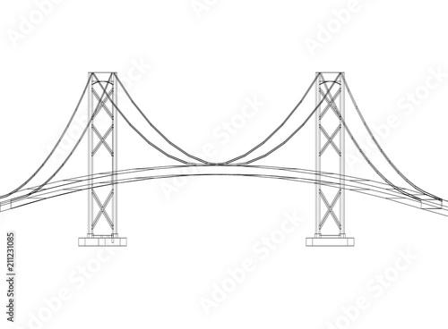 Fotografie, Obraz  Bridge design - Architect Blueprint - isolated