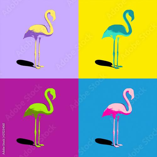 Obrazy turkusowe flamingi-turkusowe-zolte-fioletowe-rozowe