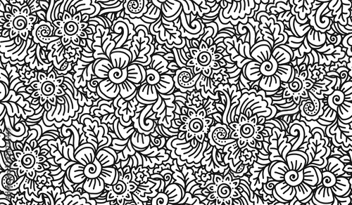 Black and white lineart doodle flowers vector seamless pattern tile, coloring book - 211234469