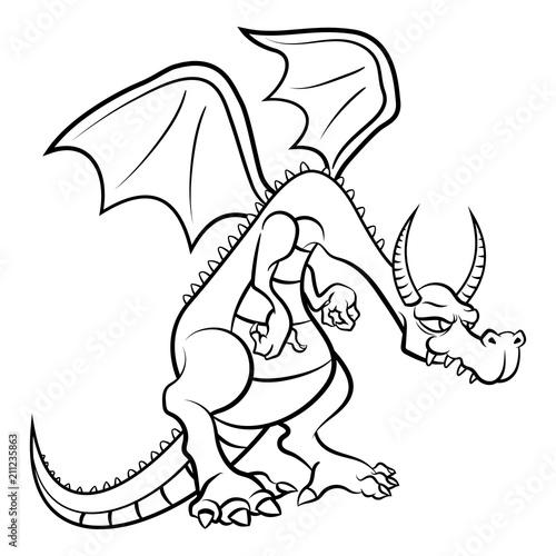 The Dragon Coloring Book Cartoon Vector