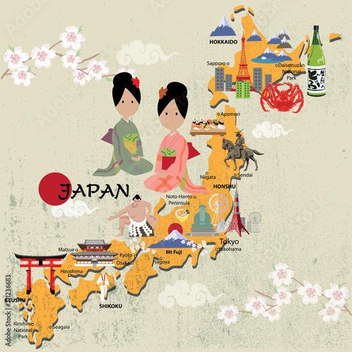 Fotomural japan map vector