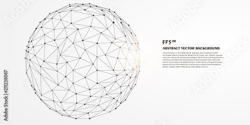 Fotografía  Low polygon mesh sphere, high tech vector background illustration