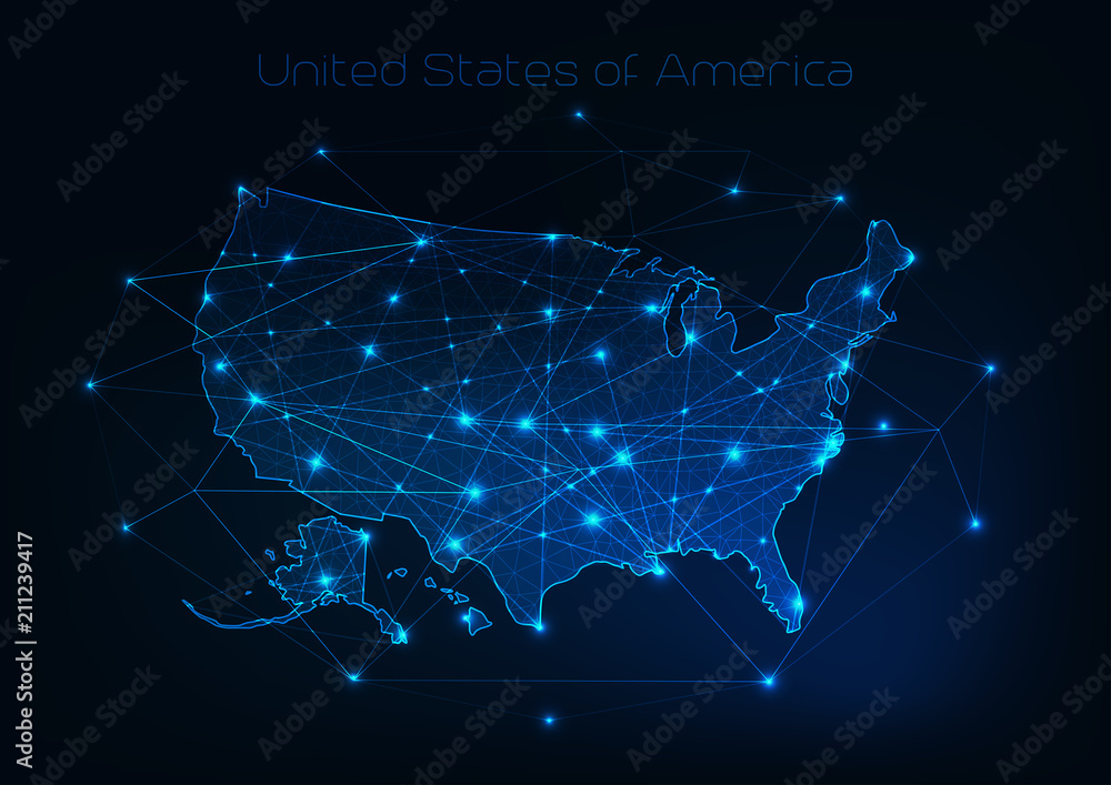 Fototapeta United States of America USA map outline with stars and lines abstract framework.