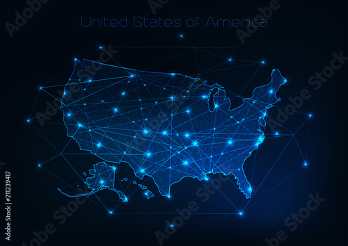 Obraz United States of America USA map outline with stars and lines abstract framework. - fototapety do salonu