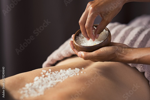 Fototapeta Body scrub with salt at spa