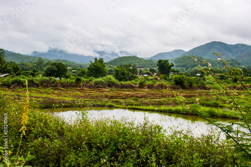 Photo Stands Beijing Farm and scenic view of mountains and sky in northern Thailand.