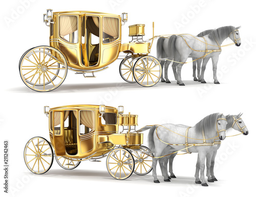 Foto Golden coach with an open door, harnessed with a pair of white horses