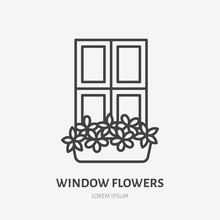 House Flowers In Flower Pots On Window Flat Line Icon. Plants Growing In Flowerpot Sign. Thin Linear Logo For Gardening, Planting.